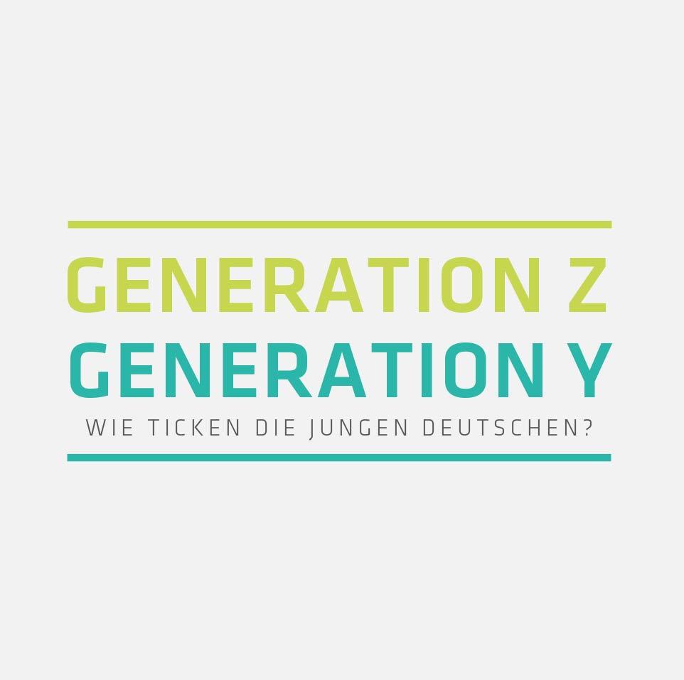 Abbildung der Schlagwörter Generation Z und Generation Y - Wie tciken die jungen Deutschen