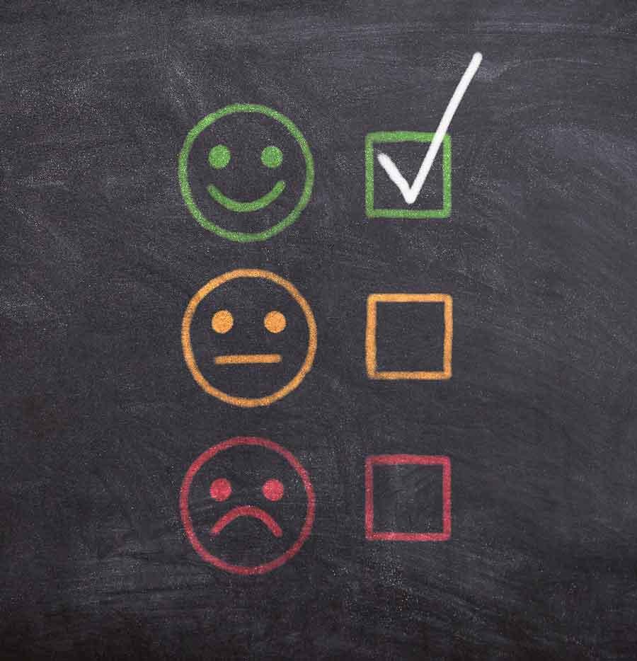 Tafel mit Smiley Bewertung Generation Z Feedback