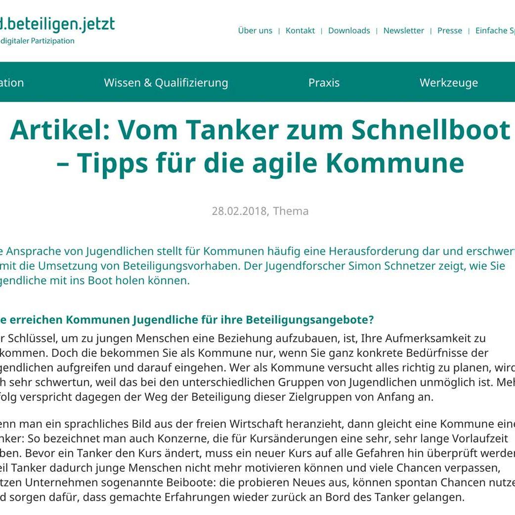 Artikel: Vom Tanker zum Schnellboot – Tipps für die agile Kommune