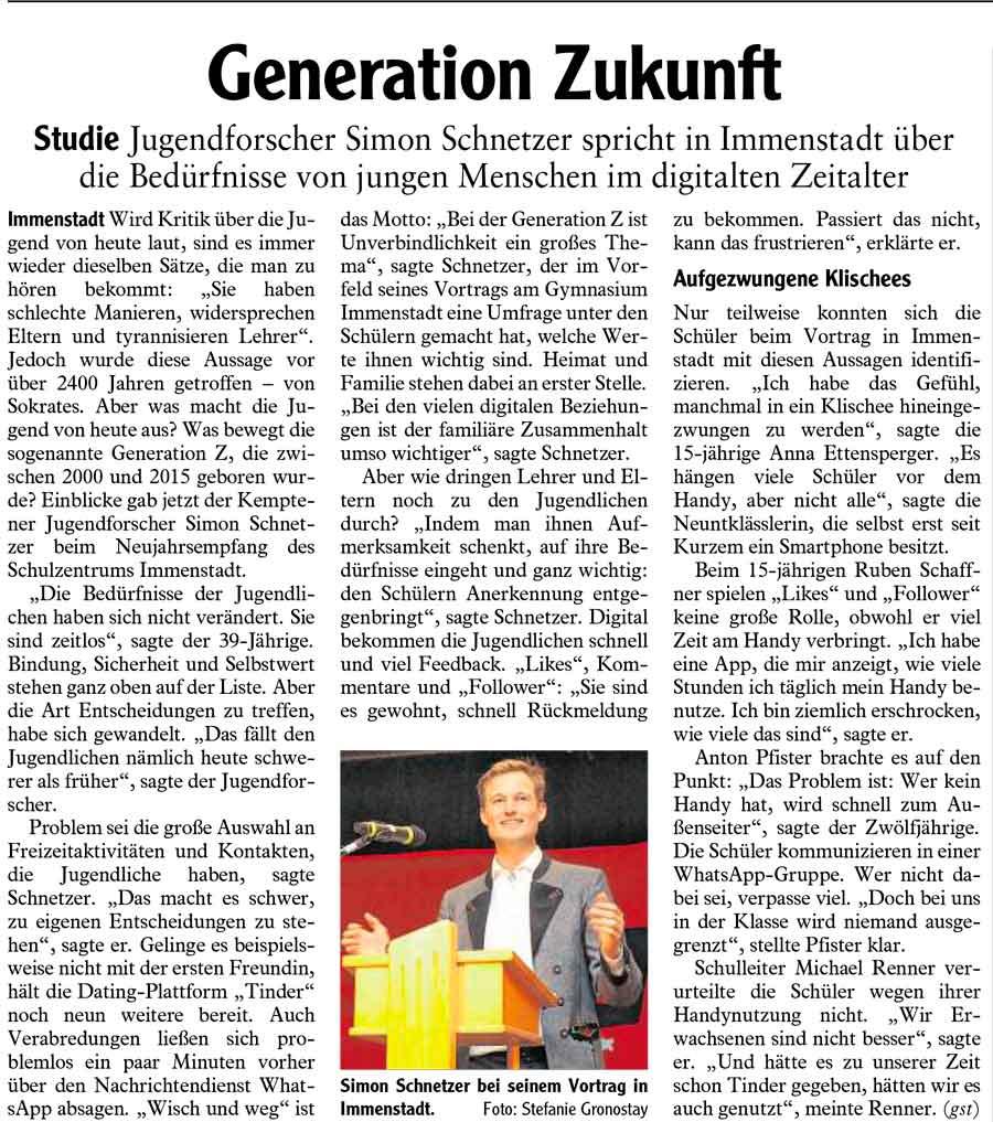"""Foto Artikel """"Generation Zukunft"""""""