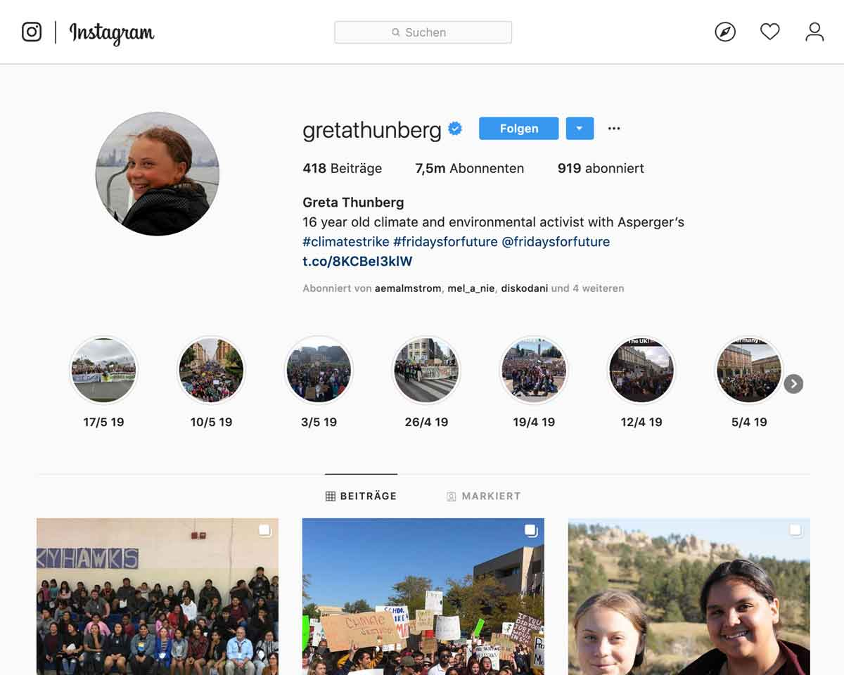 Screenshot: Greta Thunberg Instagram Account