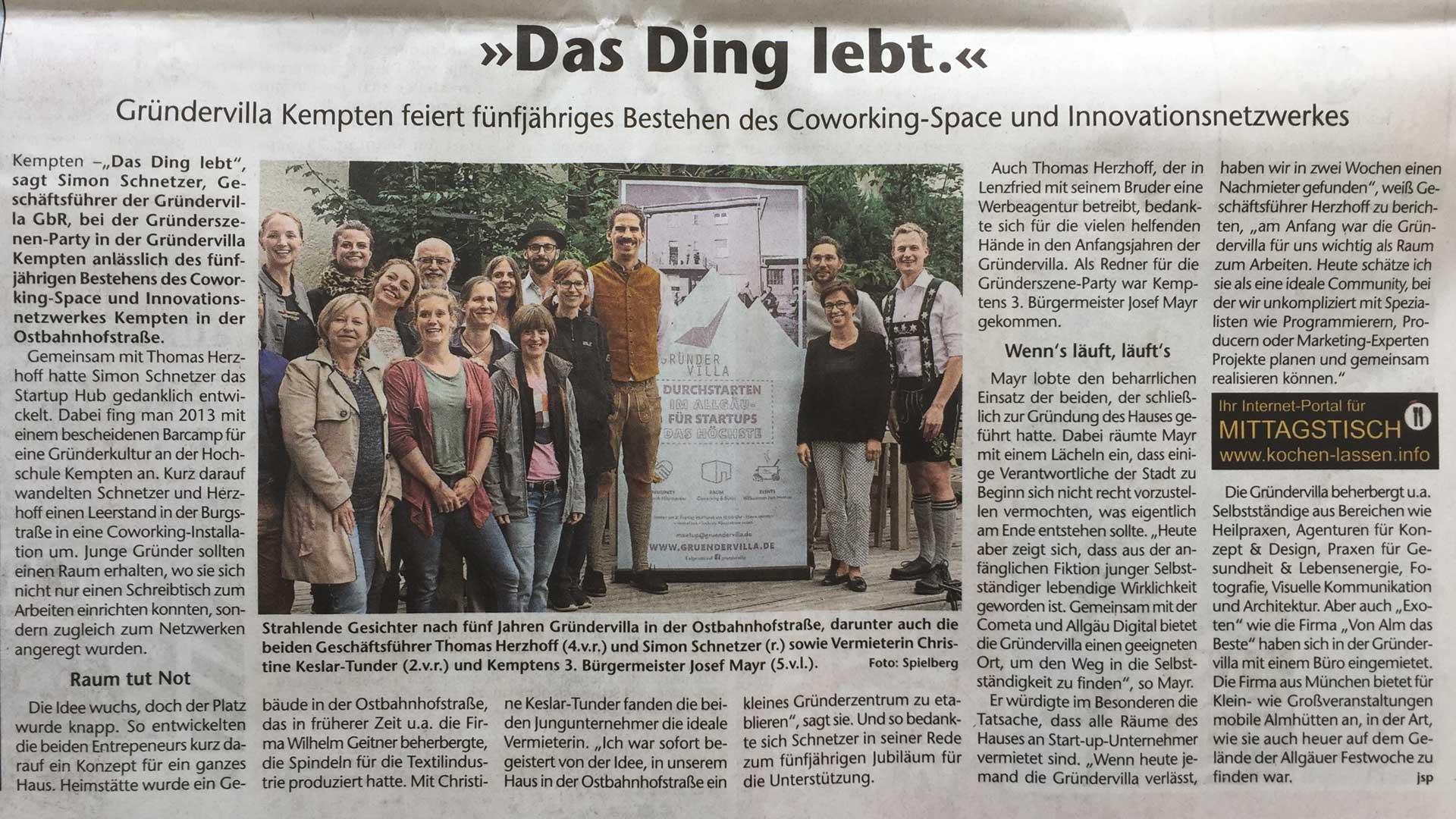Foto: Gründervilla 5 Jahresfeier Beitrag Kreisbote 09-2019