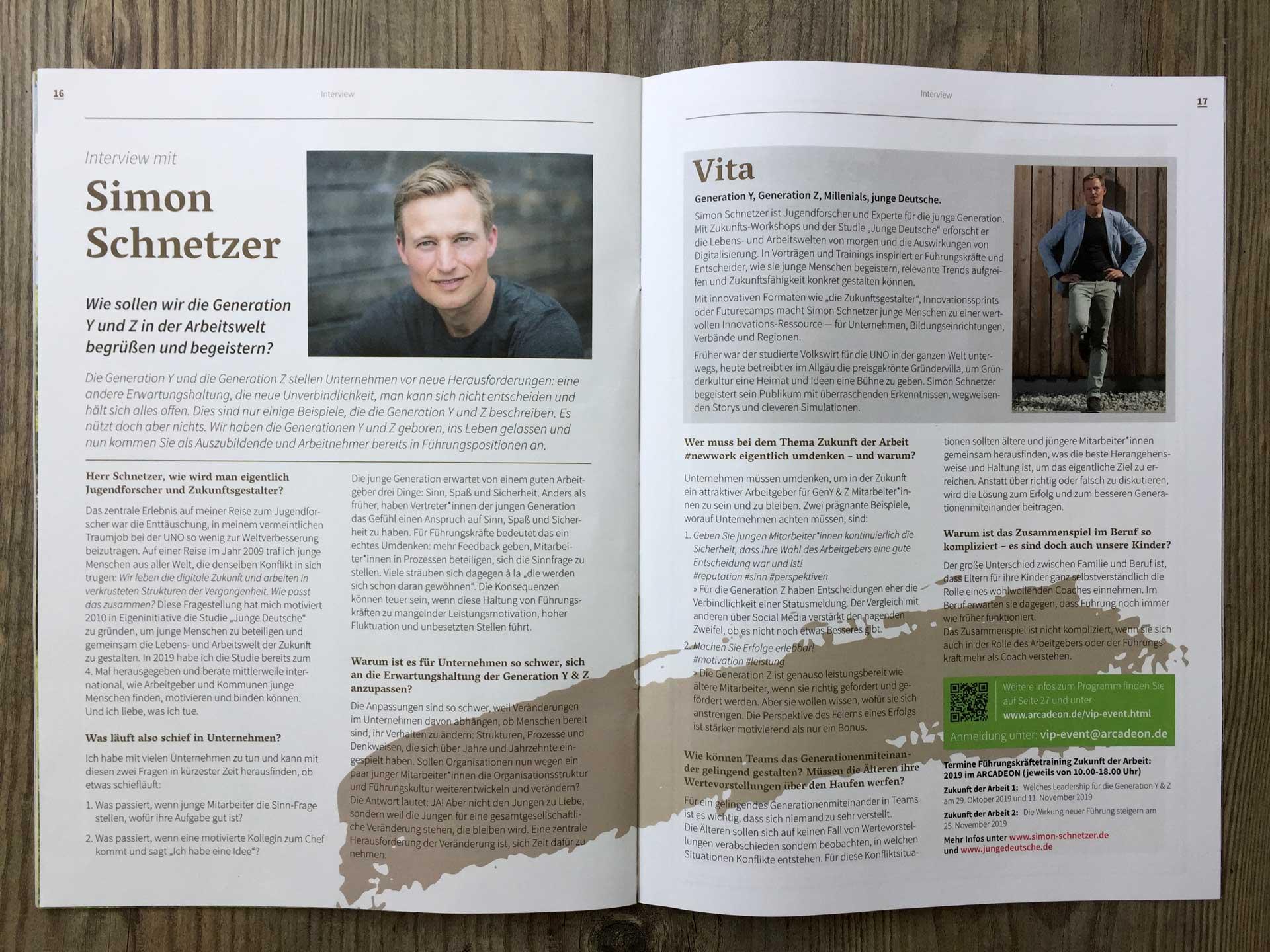 """Foto Artikel Arcadeon News """"Interview mit Simon Schnetzer"""""""