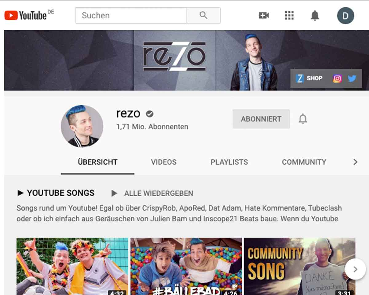 Screenshot: Rezo YouTube Account