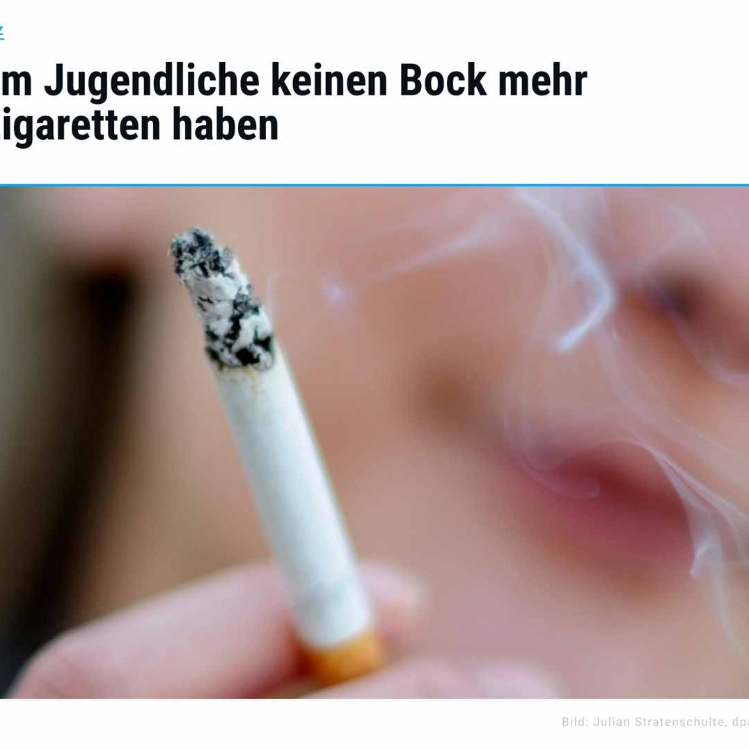 Online Artikel mit Simon Schnetzer: Warum Jugendliche keinen Bock mehr auf Zigaretten haben