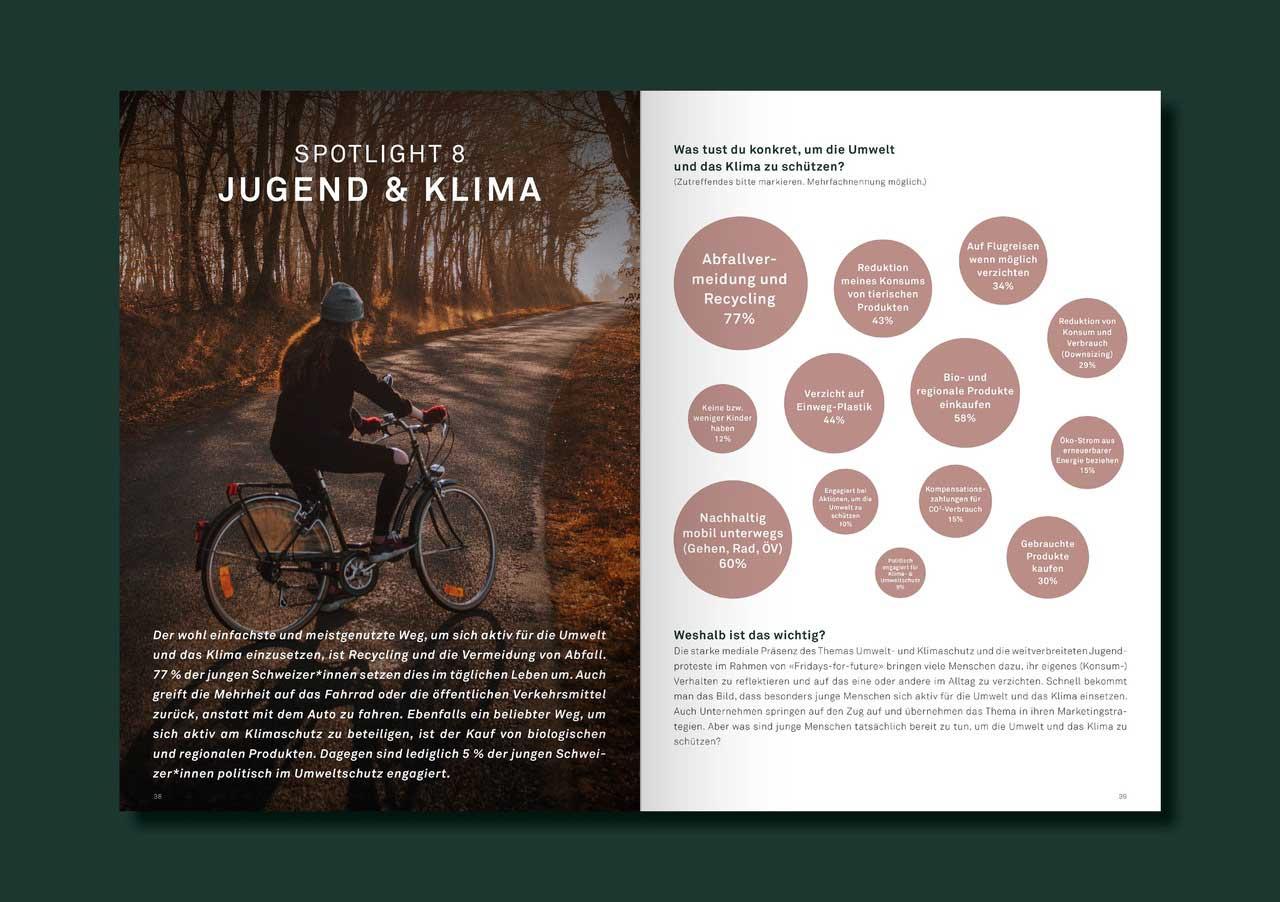 Innenseiten Jugend & Klima - Studie Junge Schweizer*innen 2021